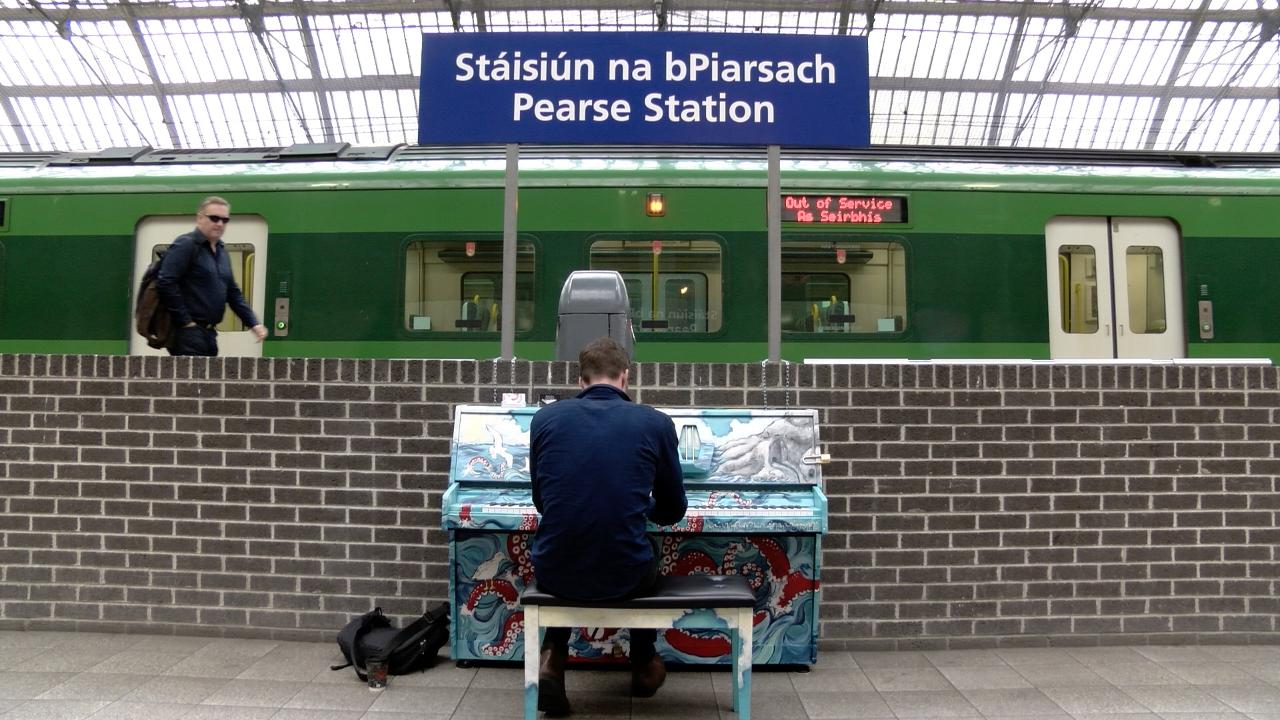 Commuters invited to play public piano installed in Pearse Station