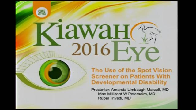 VIDEO: Speaker talks use of spot vision screener on patients with developmental disability