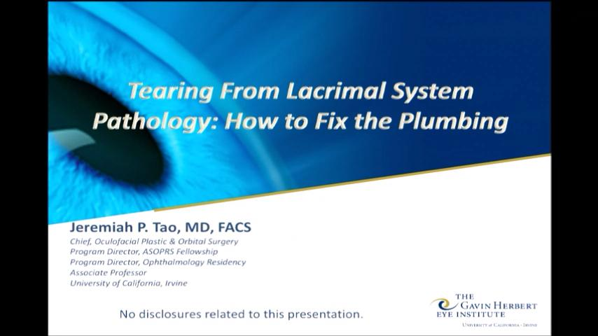VIDEO: Tearing from lacrimal system pathology: How to fix the plumbing