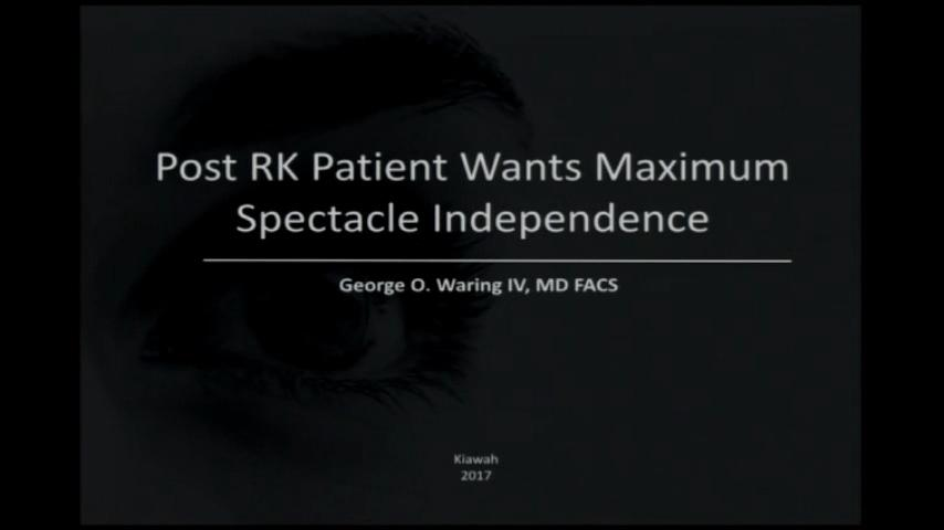 VIDEO: Post RK patient desires maximal spectacle independance