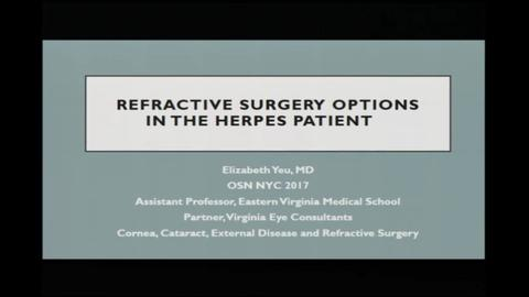 Refractive surgery options in the herpes patient