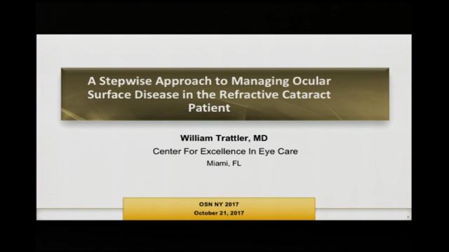 A stepwise approach to managing ocular surgace disease in the refractive caratact patient