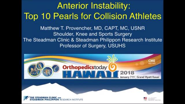 VIDEO: Presenter offers pearls for treatment of anterior instability in collision athletes