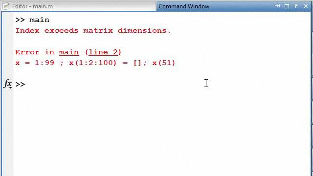how to solve index exceeds matrix dimensions in matlab