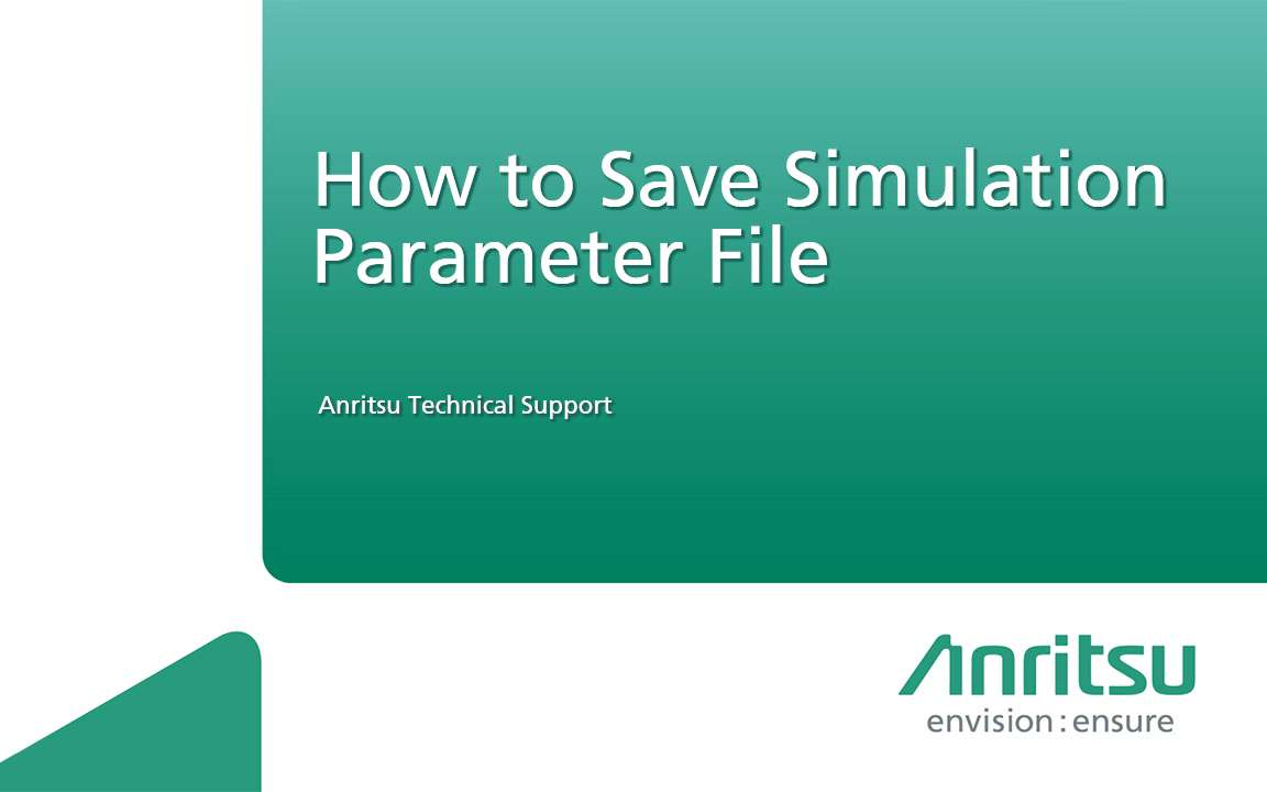 MD8475A-How to Save the Simulation Parameter File