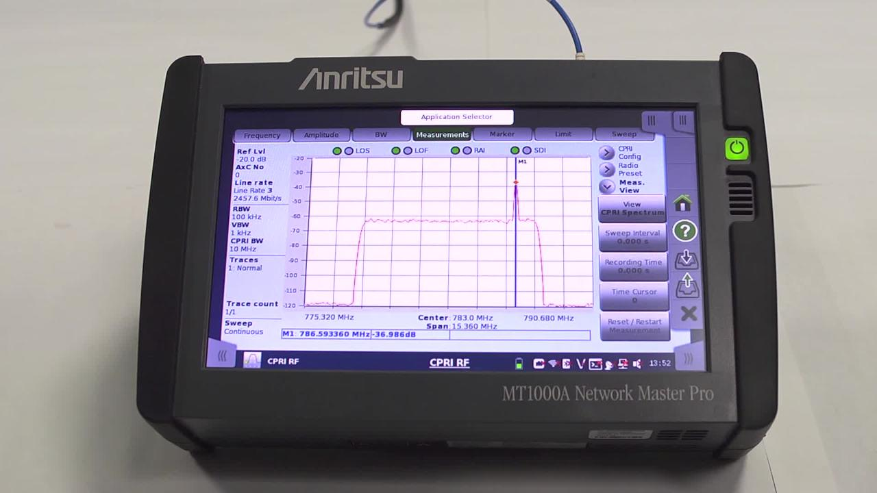 CPRI RF on the MT1000A Network Master Pro
