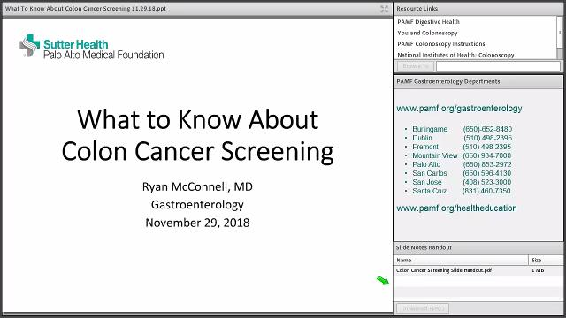 Part one of a presentation by Ryan McConnell, M.D., a practicing gastroenterologist within the Sutter Health network's Palo Alto Medical Foundation.